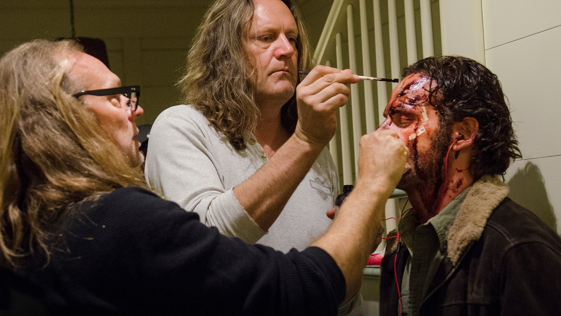 Greg Nicotero and Andrew Lincoln as Rick Grimes, The Walking Dead