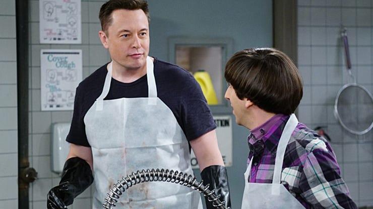 Elon Musk and Simon Helberg, The Big Bang Theory