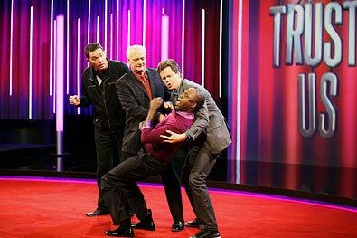 "Trust Us With Your Life - Season 1 - ""Jerry Springer"" - Brad Sherwood, Colin Mochrie, Jonathan Mangum and Wayne Brady"
