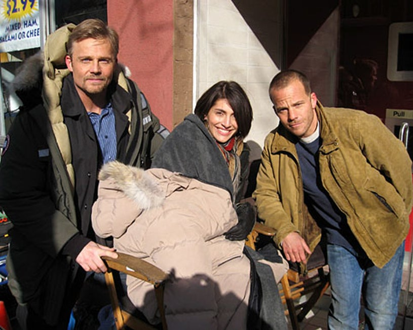 Andrew Jaskson, Caterina Murino and Stephen Dorff - on the set of XIII