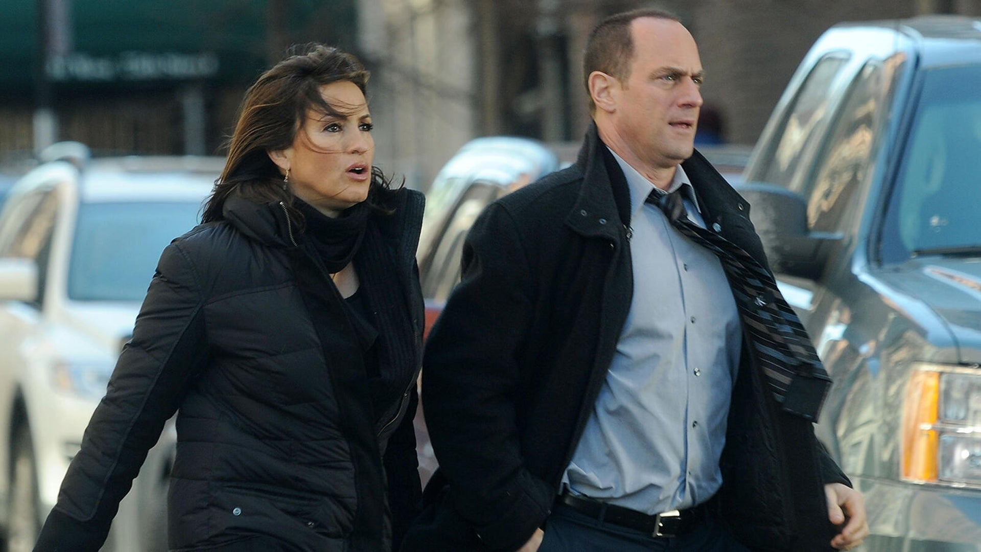 Mariska Hargitay and Christopher Meloni on location for Law & Order: SVU