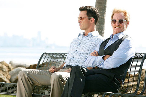 "Burn Notice - Season 5 - ""Damned If You Do"" - Jeffrey Donovan as Michael Westen and Jere Burns as Anson Fullerton"