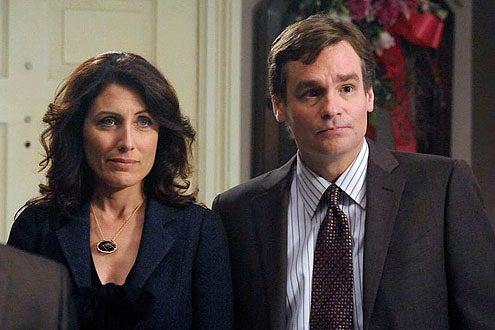 "House - Season 7 - ""Fall From Grace"" - Lisa Edelstein as Cuddy and Robert Sean Leonard as Wilson"