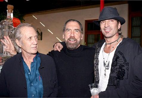 David Carradine, John Paul DeJoria and Tommy Lee - Christmas Eve in Malibu, Dec. 2005