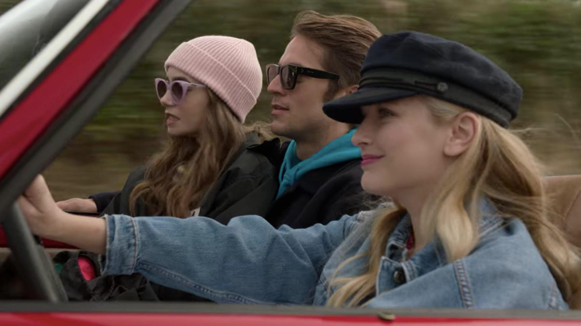 Lily Collins, Lucas Bravo, and Camille Razat, Emily in Paris