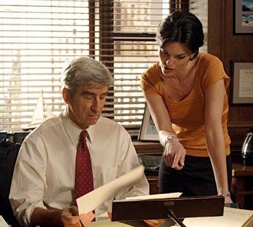 "Law & Order - Season 17 - ""Fame"" - Sam Waterston and Alana De La Garza"