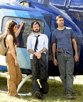 """Lost - Season 4, """"Confirmed Dead"""" - Evangeline Lilly as Kate, Jeremy Davies as Daniel, Matthew Fox as Jack"""
