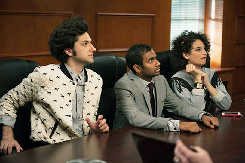"Parks and Recreation - Season 6 - ""London"" - Ben Schwartz, Aziz Ansari and Jenny Slate"