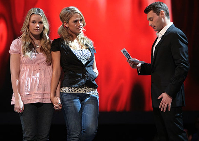 American Idol - Season 7 - Alaina Whitaker and Kady Malloy wait for Ryan Seacrest to reveal who is eliminated