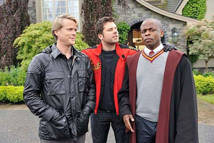 """Psych - Season 8 - """"Lock, Stock Something Smoking Barrells and Burton Guster's Goblet of Fire"""" - Cary Elwes, James Roday and Dule Hill"""