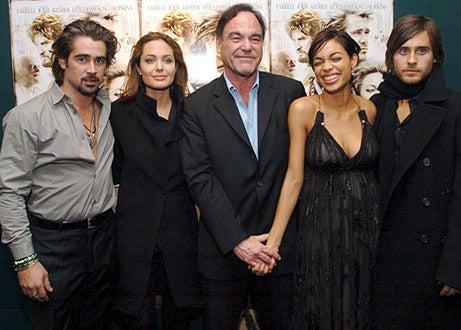 "Colin Farrell, Angelina Jolie, Oliver Stone, Rosario Dawson and Jared Leto - ""Alexander"" screening in New York City, November 22, 2004"