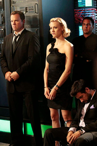 "Chuck - Season 5 - ""Chuck vs. The Zoom"" - Adam Baldwin as John Casey, Yvonne Strahovski as Sarah Walker and Joshua Gomez as Morgan Grimes"