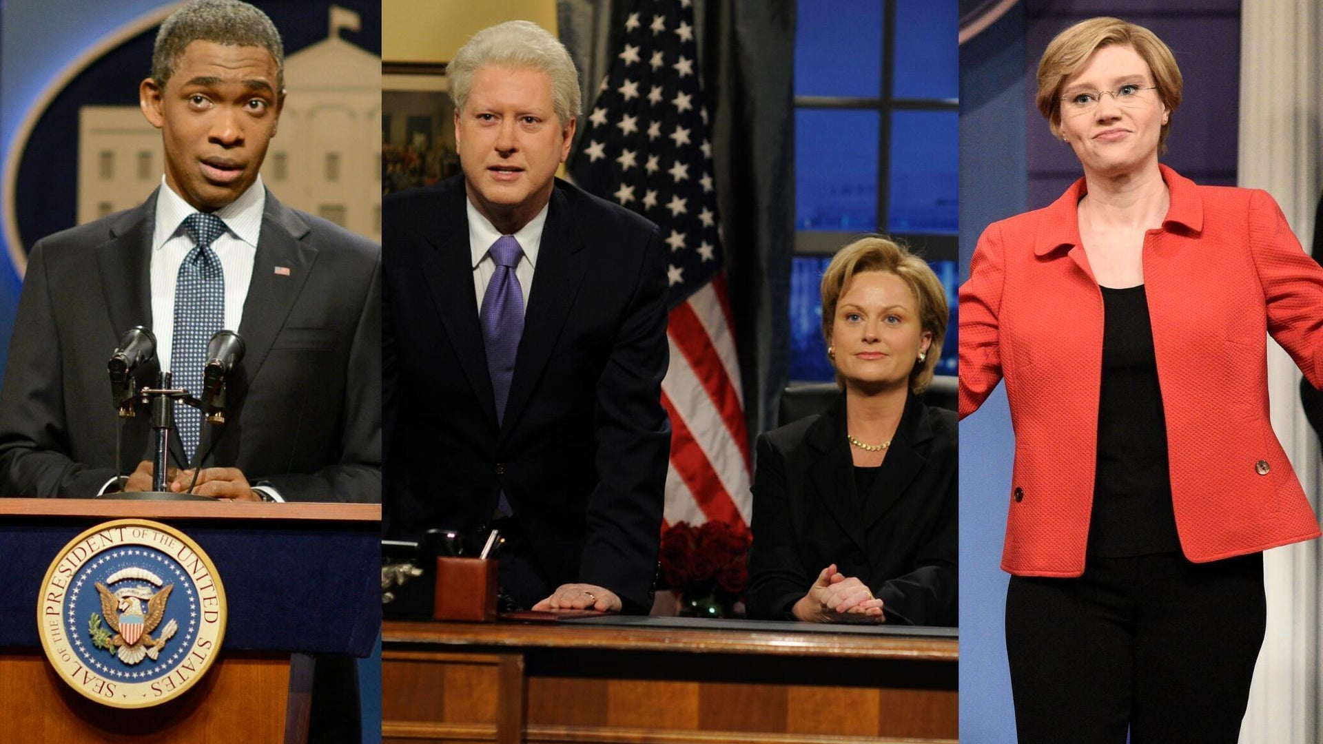 Jay Pharoah, Darrell Hammond, Amy Poehler, and Kate McKinnon, Saturday Night Live