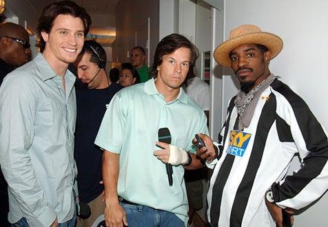 Garrett Hedlund, Mark Wahlberg and Andre Benjamin - MTV Studios - 2005