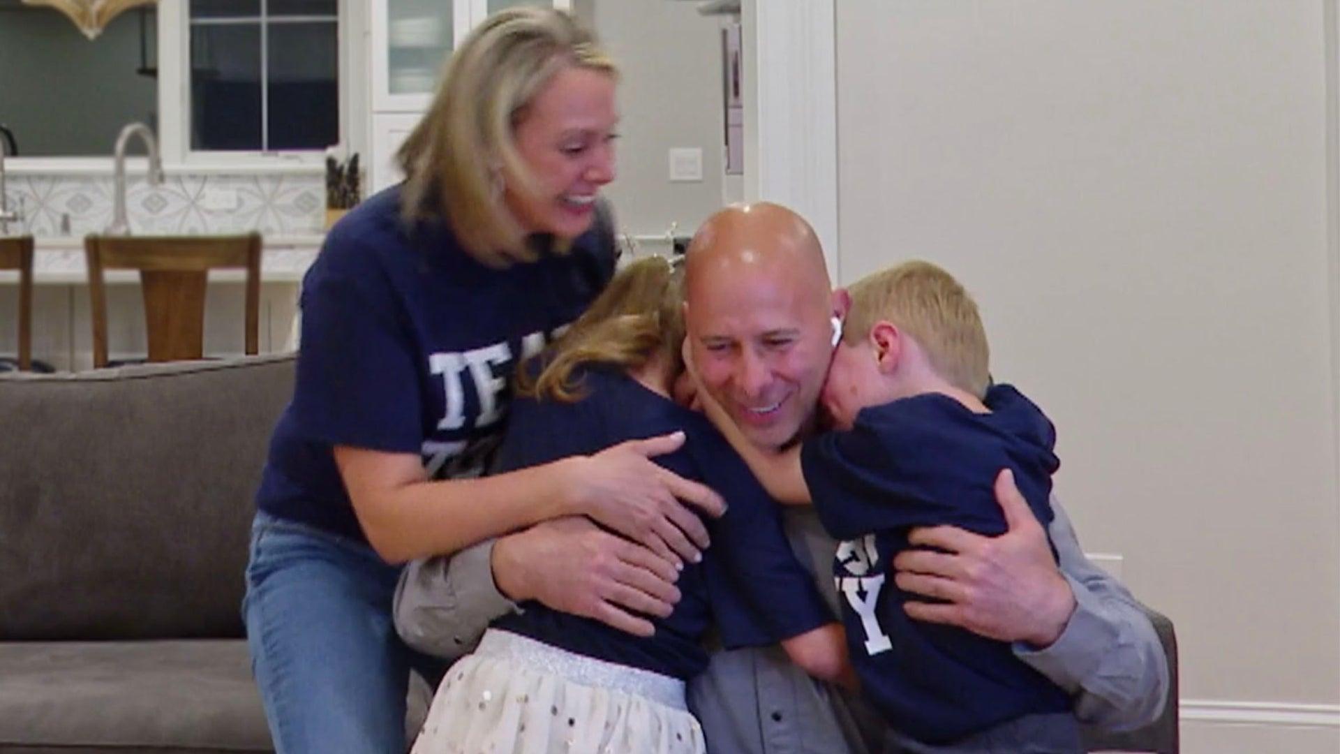 Tony Vlachos celebrates victory with his family