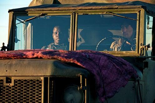 "Falling Skies - Season 2 - ""Death March"" - Mpho Koaho and Peter Shinkoda"