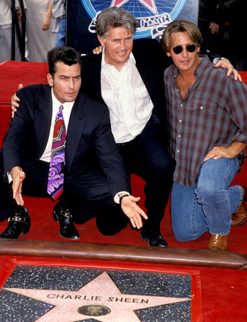 Charlie Sheen, Martin Sheen and Emilio Estevez - Charlie Sheen Honored with a Star on the Hollywood Walk of Fame, September 23, 1994