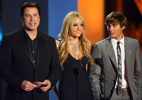 John Travolta, Amanda Bynes and Zac Efron - The 2007 MTV Movie Awards, June 3, 2007