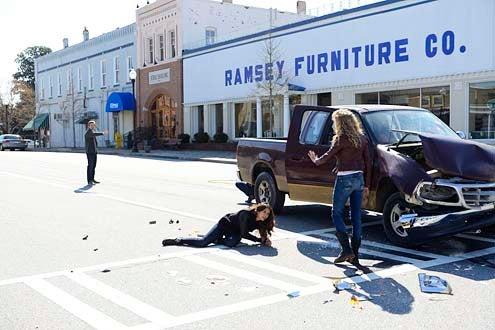 "The Vampire Diaries - Season 5 - ""Promise Land"" - Chris Brochu, Nina Dobrev and Penelope Mitchell"