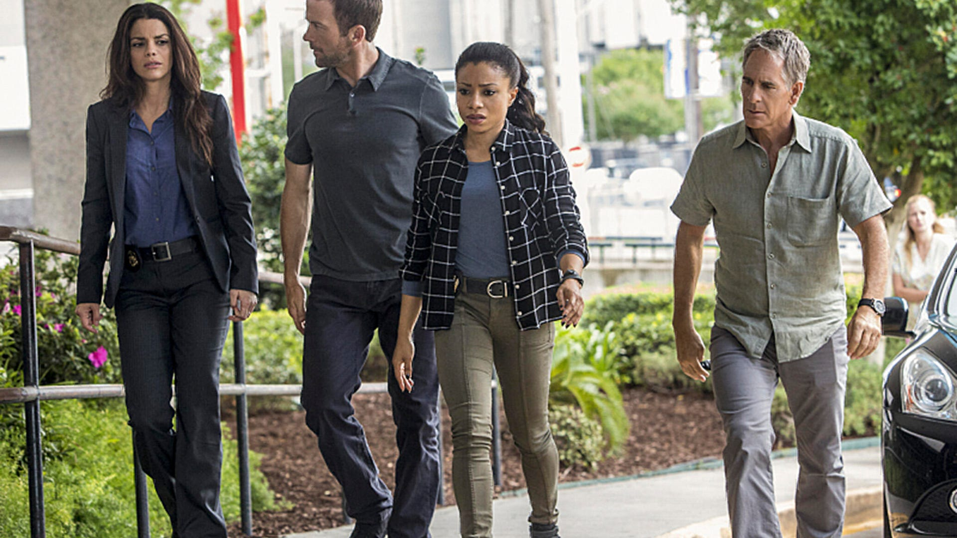 NCIS: New Orleans, Vanessa Ferlito as FBI Special Agent Tammy Gregorio, Lucas Black as Special Agent Christopher LaSalle, Shalita Grant as Sonja Percy, and Scott Bakula as Special Agent Dwayne Pride