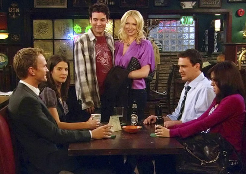 """How I Met Your Mother - Season 4 - """"Sorry Bro"""" - Neil Patrick Harris as Barney, Colbie Smulders as Robin, Josh Radnor as Ted, Laura Prepon as Karen, Jason Segel as Marshall and Alyson Hannigan as Lily"""