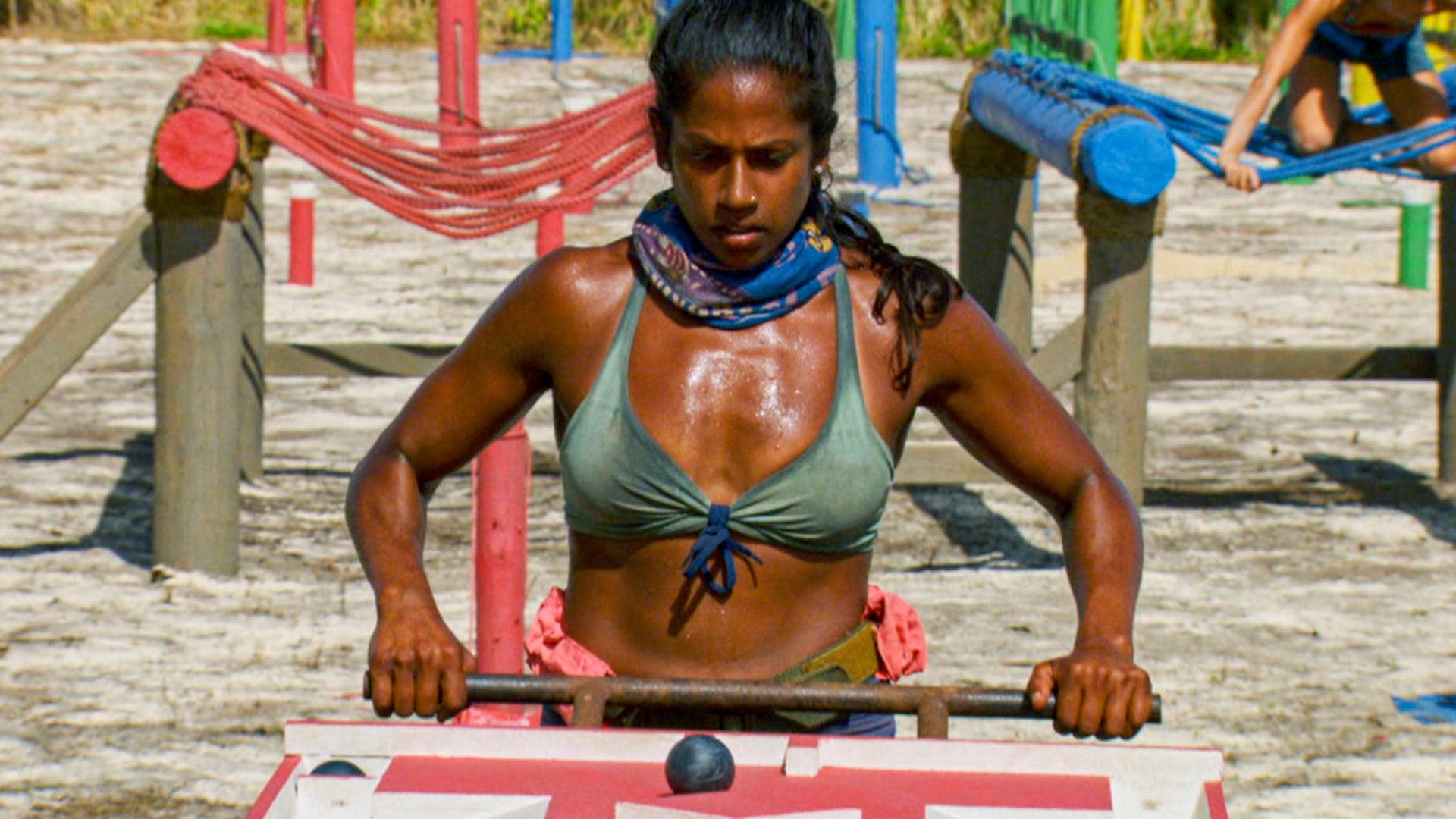 Natalie Anderson competes in the Survivor: Winners at War return challenge