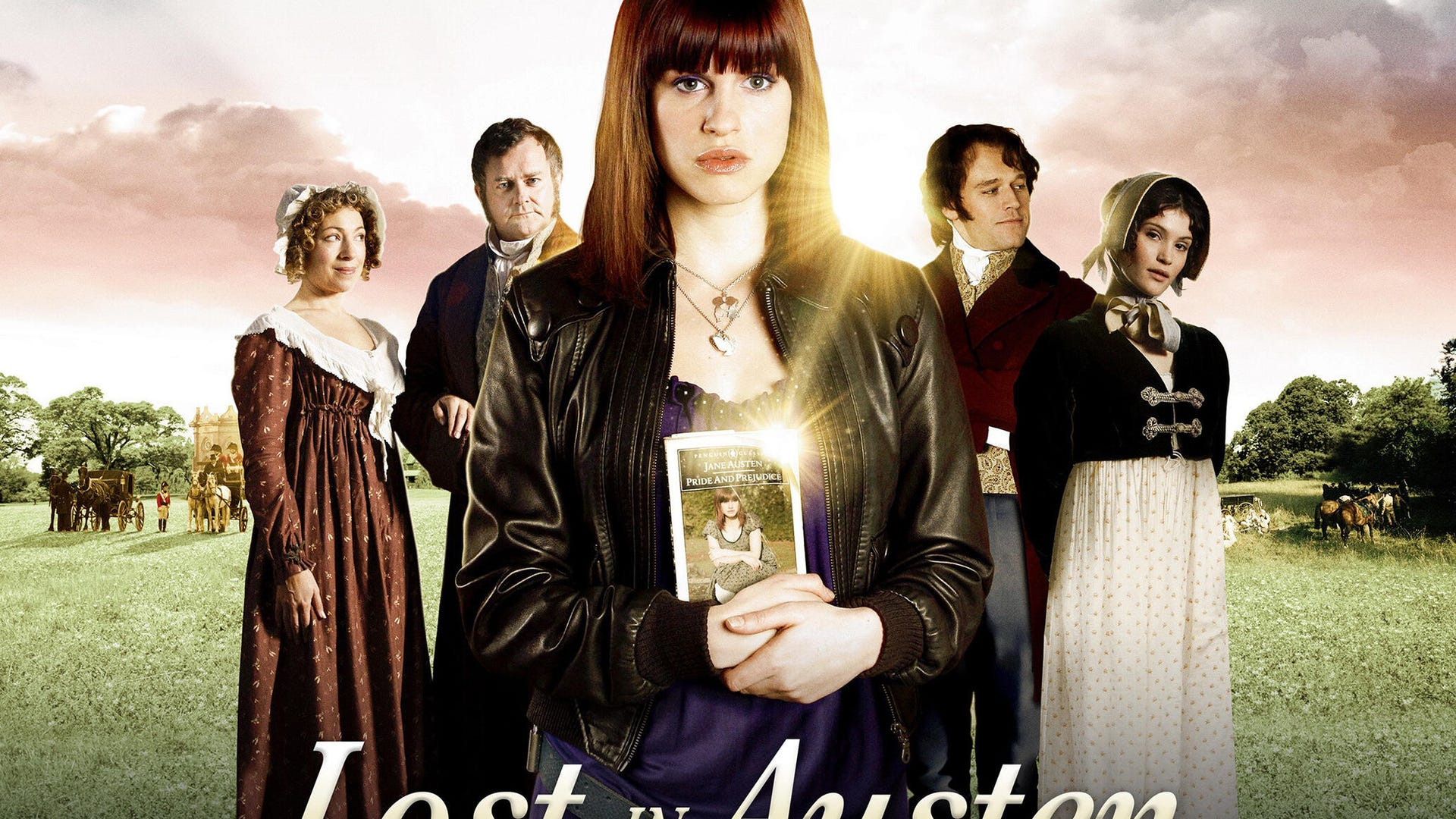 Jemima Rooper, Elliot Cowan, Alex Kingston, Morvne Christie, and Hugh Bonneville, Lost in Austen