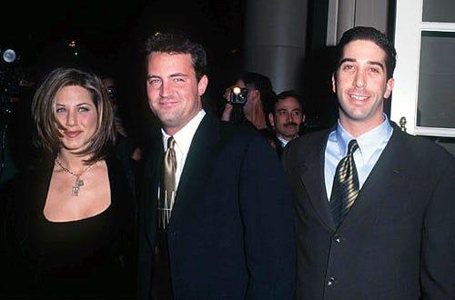 David Schwimmer, Matthew Perry & Jennifer Aniston - NBC Party for Warren Littlefield, December 11, 1995