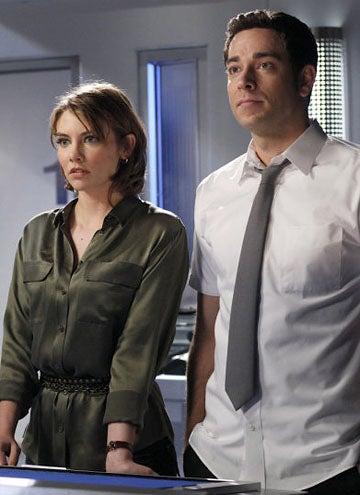 """Chuck - Season 4 - """"Chuck vs. the First Bank of Evil"""" - Lauren Cohan as Vivian and Zachary Levi as Chuck Bartowski"""
