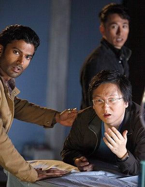 "Heroes - Season 3 - ""An Invisible Thread"" - Sendhil Ramamurthy as Mohinder Suresh, Masi Oka as Hiro Nakamura and James Kyson Lee as Ando Masahashi"