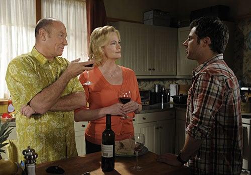 "Psych - Season 3, ""The Ghost in You"" - Corbin Bernsen as Henry Spencer, Cybill Shepherd as Madeline, James Roday as Shawn Spencer"