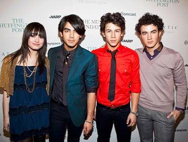 Demi Lovato, Joe Jonas, Nick Jonas, and Kevin Jonas - The Huffington Post pre-inaugural ball in Washington DC, January 19, 2009