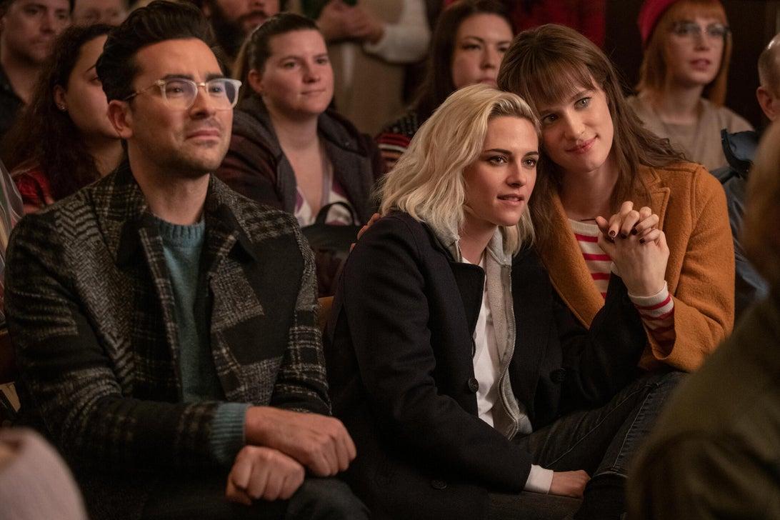 Daniel Levy, Kristen Stewart, and Mackenzie Davis, Happiest Season