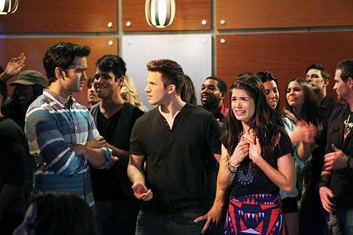 "90210 - Season 5 - ""The Empire State Strikes Back"" - Michael Steger, Matt Lanter and Marie Avgeropoulos"