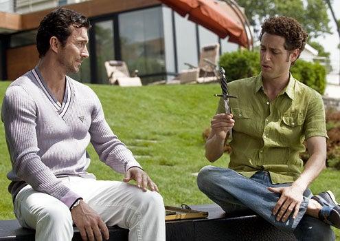 "Royal Pains - Season 1 - ""Crazy Love"" - William Abadie as Javier Santos and Mark Feuerstein as Hank Lawson"