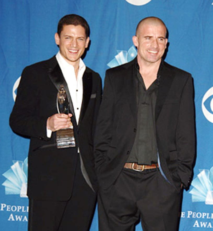 """Wentworth Miller and Dominic Purcell - """"Prison Break"""" wins Favorite New Drama at People's Choice Awards, Jan. 2006"""