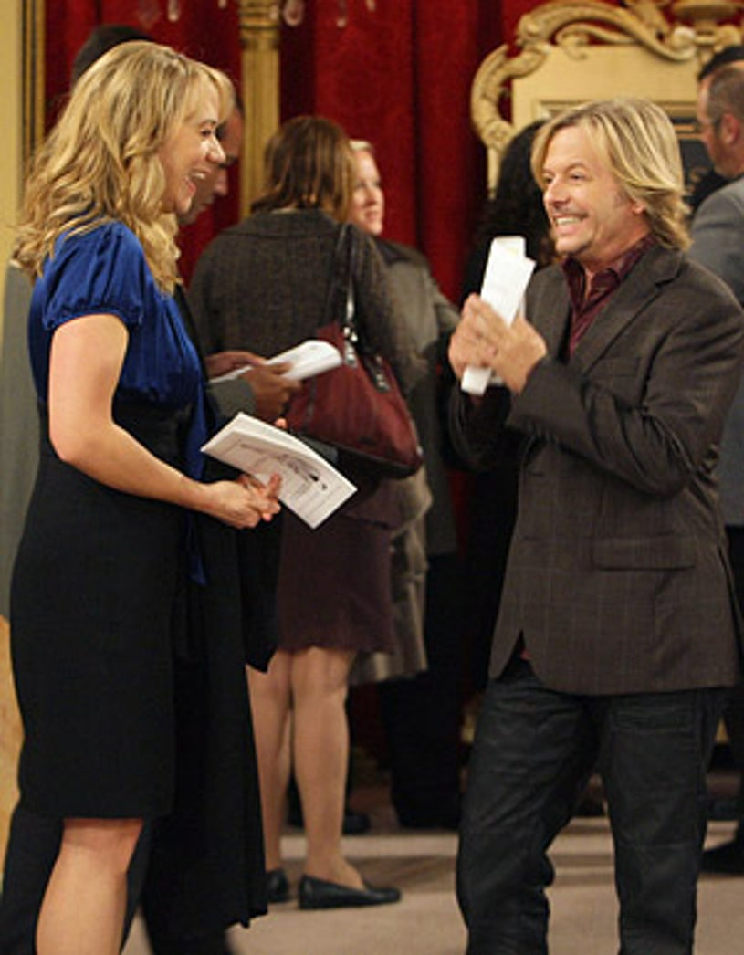"""Rules of Engagement - Season 3 - """"Russell's Secret"""" - Megyn Price as Audrey and David Spade as Russell"""