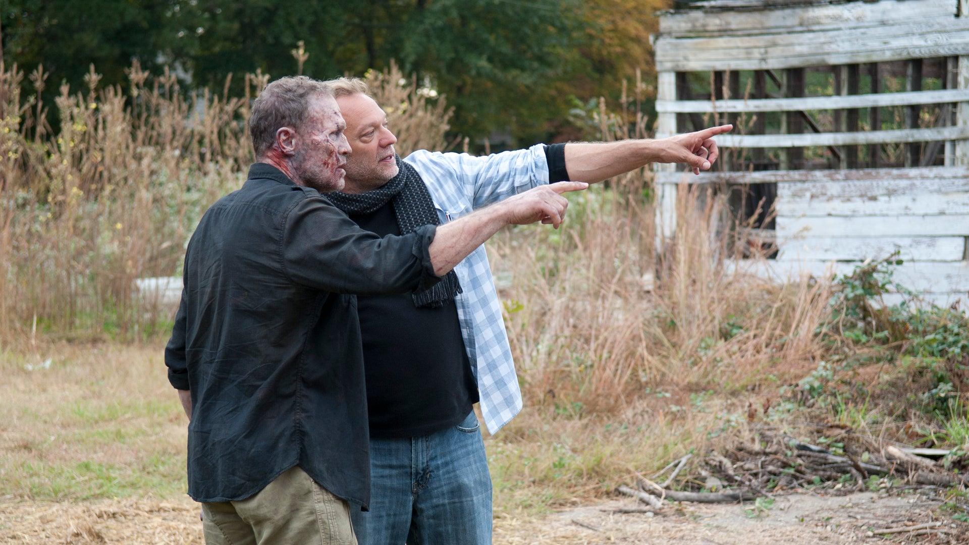 Merle Dixon (Michael Rooker) and CoExecutive Producer/SFX Makeup Supervisor Greg Nicotero, The Walking Dead