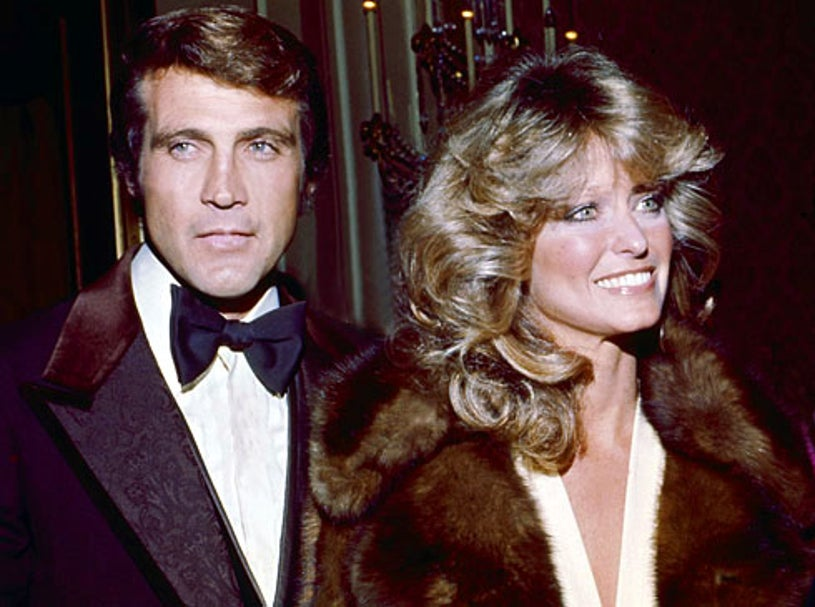 Lee Majors and wife Farrah Fawcett - event unknown, c. 1975