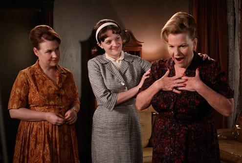 "Mad Men - Season 3 - ""My Old Kentucky Home"" - Audrey Wasilewki as Anita Olson Respola, Elisabeth Moss and Myra Turley as Katherine Olson"