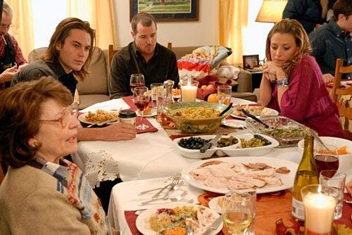 "Friday Night Lights - Season 4 - ""Thanksgiving"" - Louanne Stephens as Grandma Saracen, Taylor Kitsch as Tim Riggins, Derek Phillips as Billy Riggins, Stacey Oristano as Mindy Riggins"