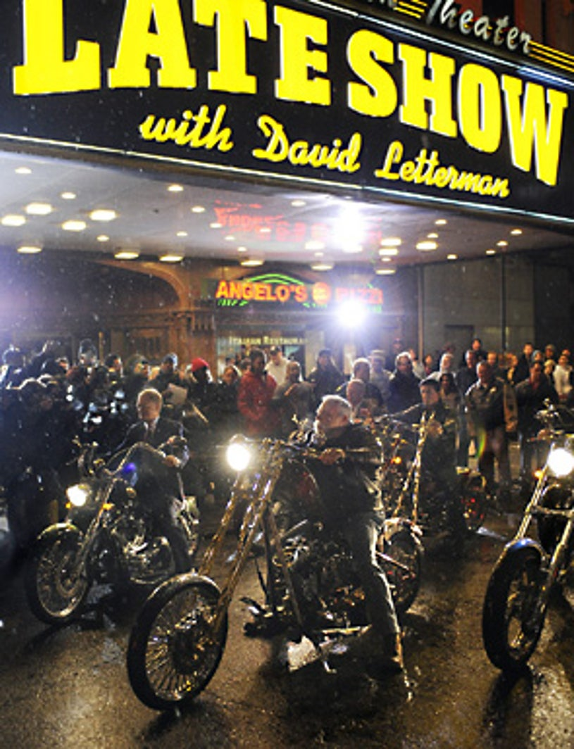 The Late Show with David Letterman - Cycle gang in the rain on Broadway is led by David Letterman, left, Paul Teutul, center, in the second row are Bruce Willis and Sylvester Stallone. - Jan. 17, 2008
