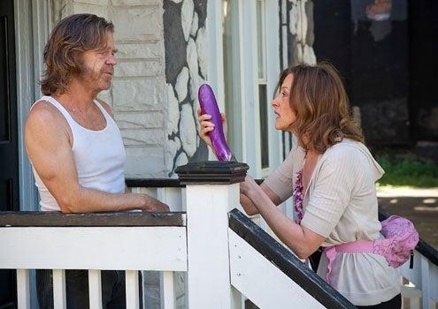 "Shameless - Season 2 - ""Summer Loving"" - William H. Macy as Frank Gallagher and Joan Cusack as Sheila"