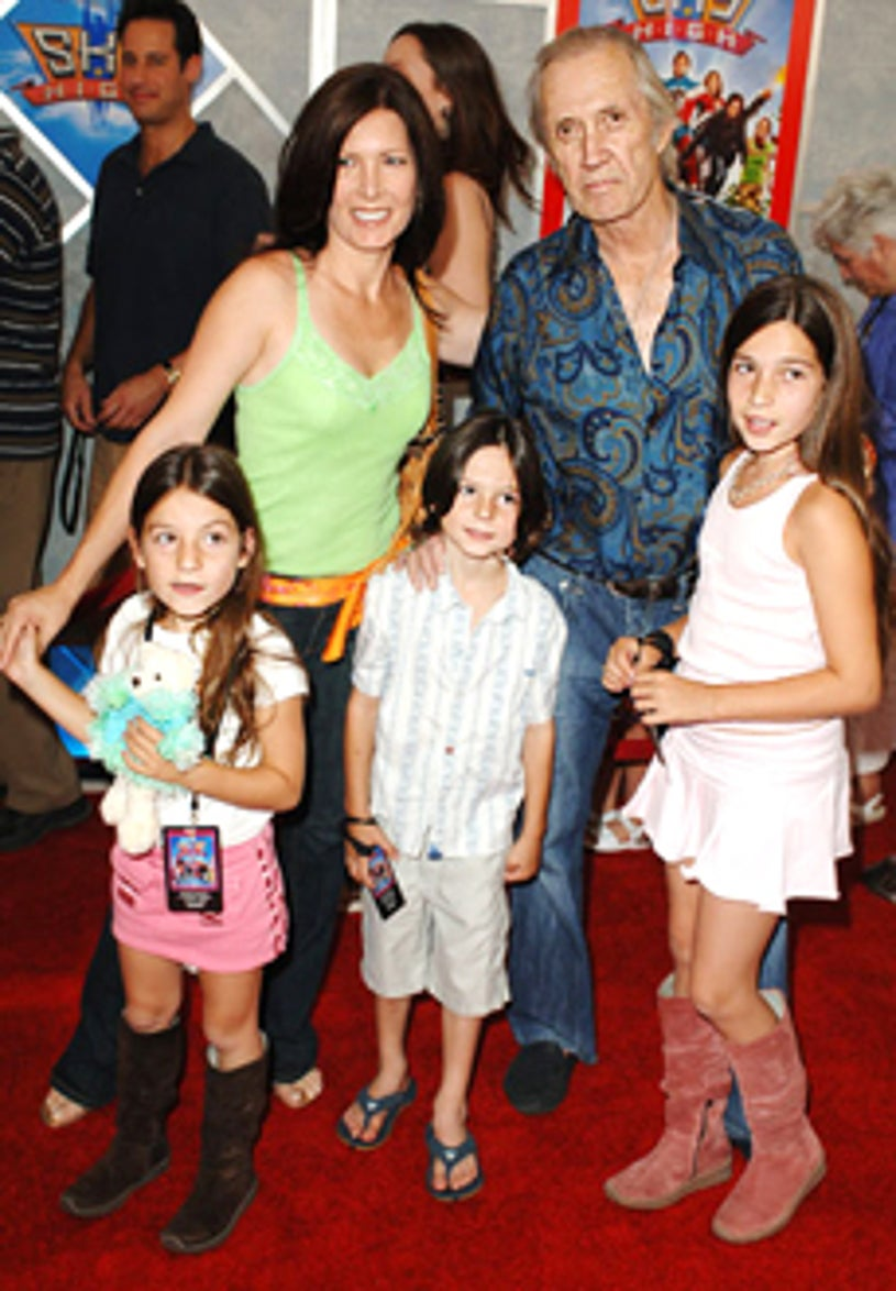 """David Carradine and family - """"Sky High"""" premiere, July 2005"""