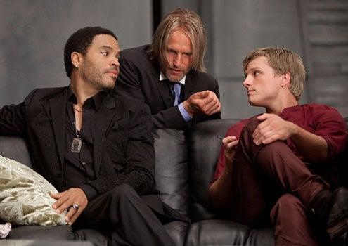 The Hunger Games - Lenny Kravitz as Cinna, Woody Harrelson as Haymitch Abernathy and Josh Hutcherson as Peeta Mellark