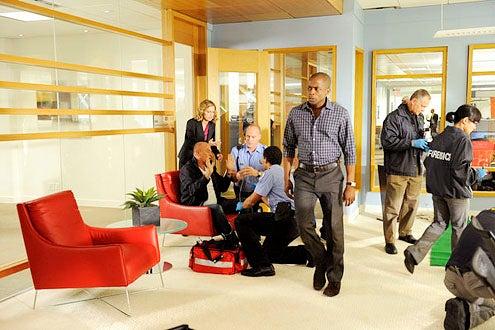 "Psych - Season 7 - ""Office Space"" - Corbin Bernsen, Maggie Lawson and Dule Hill"