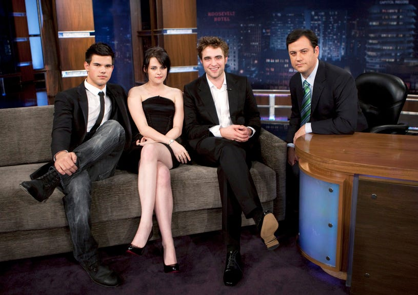 Taylor Lautner, Kristen Stewart, Robert Pattinson on Jimmy Kimmel Live, November 20, 2009