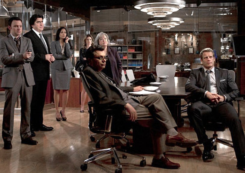 """Harry's Law - Season 2 - """"Sins of the Father"""" - Nate Corddry as Adam Branch, Alfred Molina as Eric Sanders, Karen Olivo as Cassie Reynolds, Daisy Betts as Bethany Sanders, Kathy Bates as Harriet """"Harry"""" Korn, Frank Renzulli as Vinnie Delgato and Mark Valley as Oliver Richard"""
