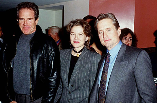 Warren Beatty, Annette Bening and Michael Douglas - Nov. 1994