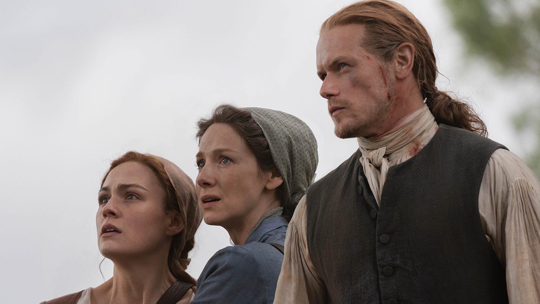 Sophie Skelton, Caitriona Balfe, and Sam Heughan, Outlander